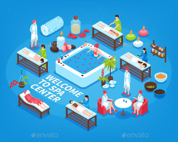 Spa Center Isometric Background - Miscellaneous Vectors