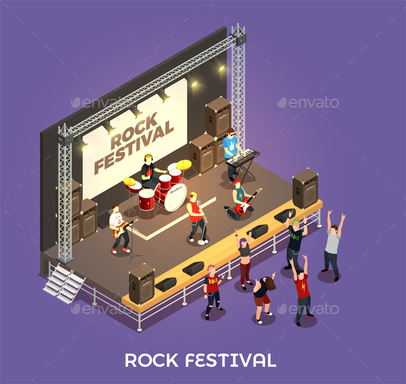 Rock Festival Isometric Composition - People Characters