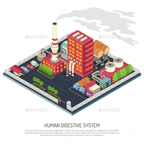 Factory Isometric Composition - Buildings Objects
