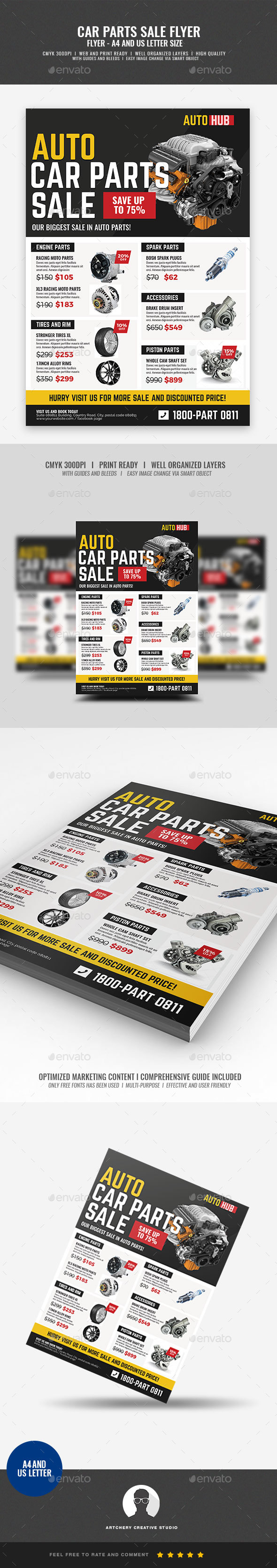 Car Parts Shop Promo Sale Flyer - Corporate Flyers