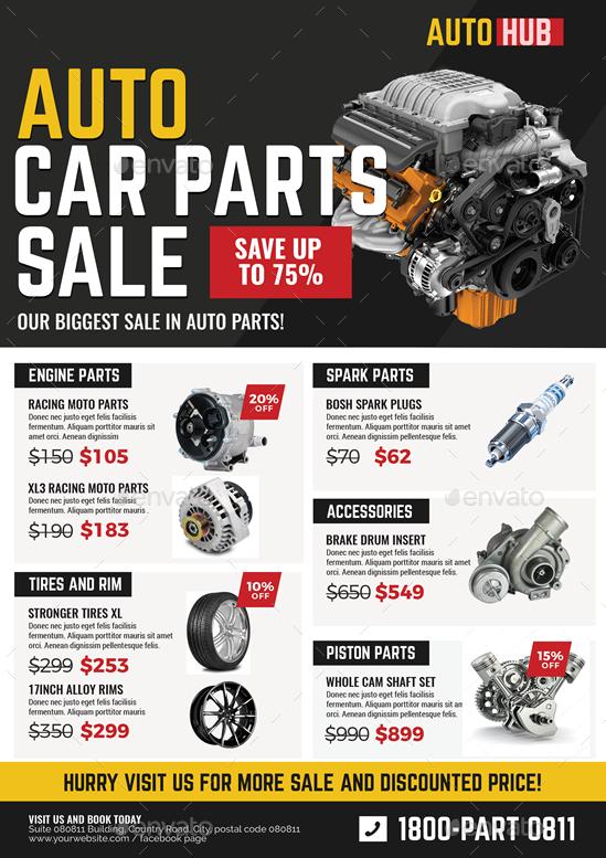Auto Parts For Sale >> Car Parts Shop Promo Sale Flyer