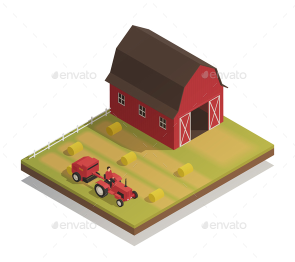 Farm Hay Harvesting Isometric Composition - Buildings Objects