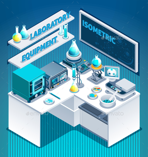 Laboratory Table Isometric Composition - Miscellaneous Vectors