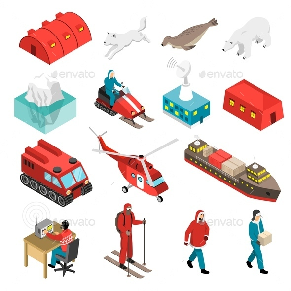 Arctic Polar Station Isometric Set - Animals Characters