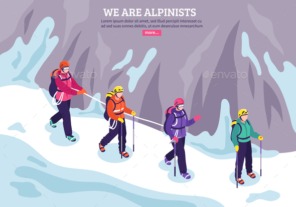 Mountaineering Isometric Winter Background - Sports/Activity Conceptual