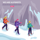 Mountaineering Isometric Winter Background
