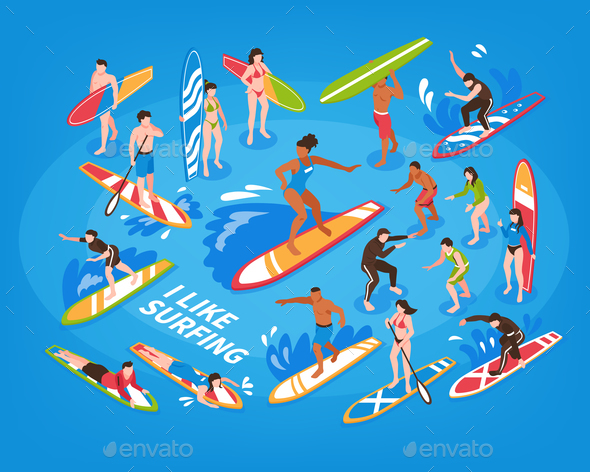 Surfing Isometric Blue Background - Sports/Activity Conceptual