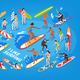 Surfing Isometric Blue Background