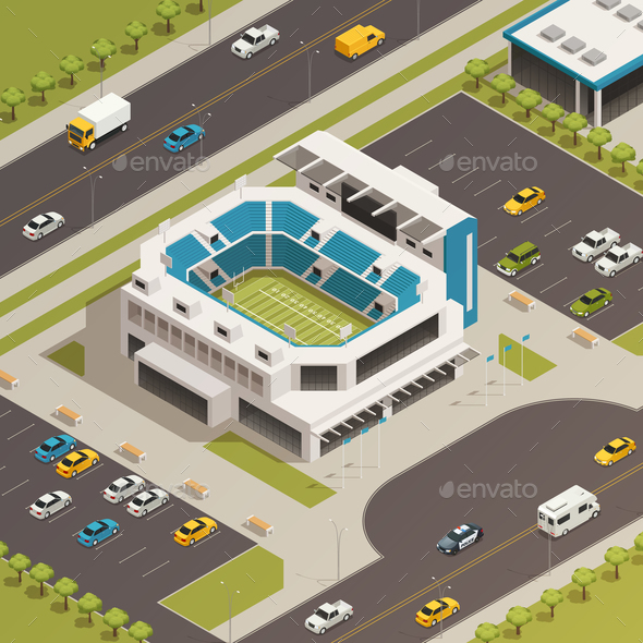 Sport Stadium Area Isometric Composition - Buildings Objects
