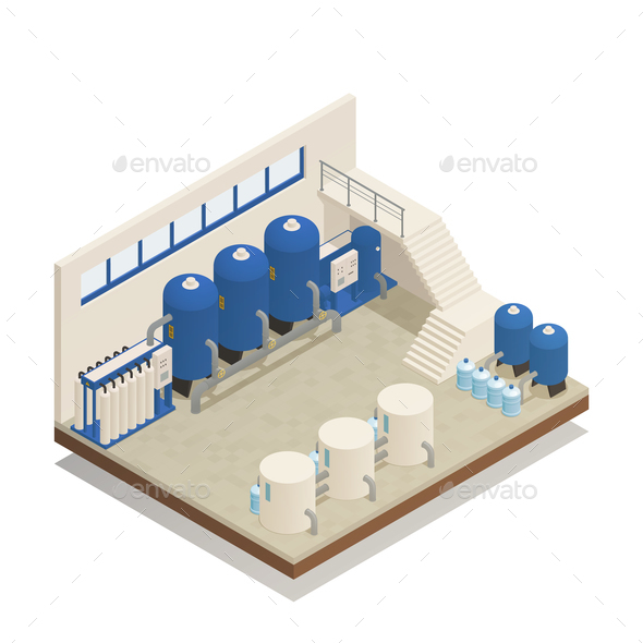 Water Cleaning Facility Isometric Composition - Buildings Objects