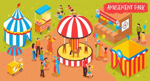 Family Entertainment Park Background - Miscellaneous Vectors