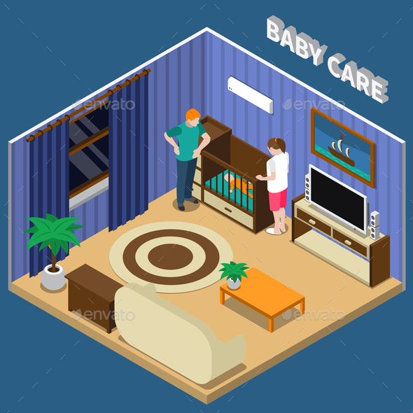 Baby Care Isometric Composition - People Characters
