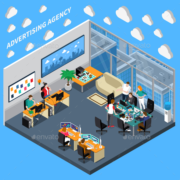 Advertising Agency Isometric Composition - Business Conceptual