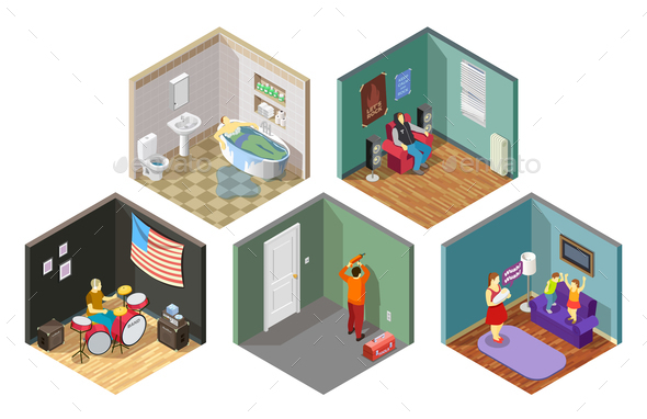 Neighbors Relations Isometric Compositions Set - People Characters