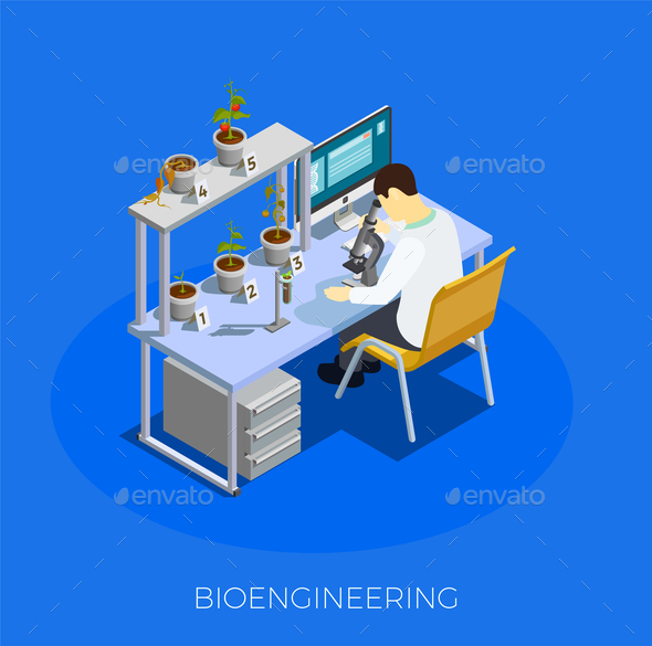 GMO Bio Engineering Isometric Composition - Food Objects