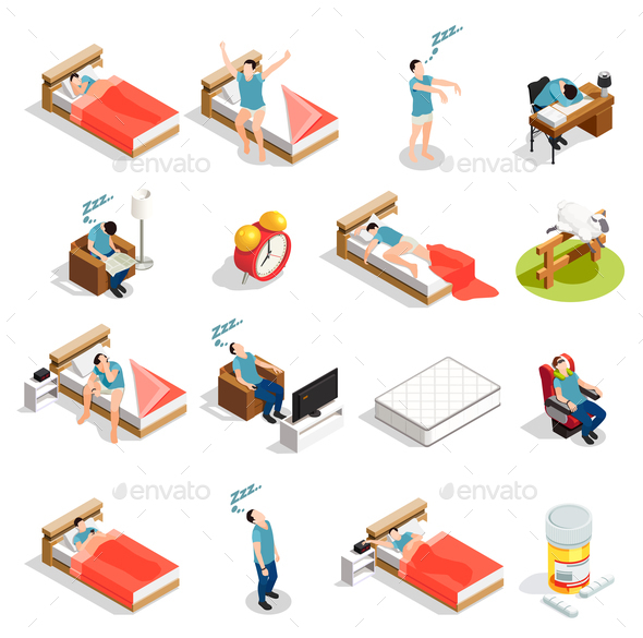 Healthy Sleep And Disorders Icons - People Characters