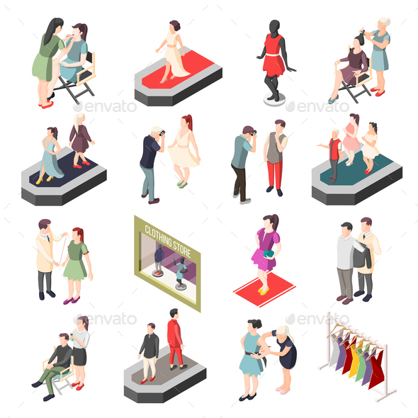 Fashion Industry Isometric Icons - Business Conceptual