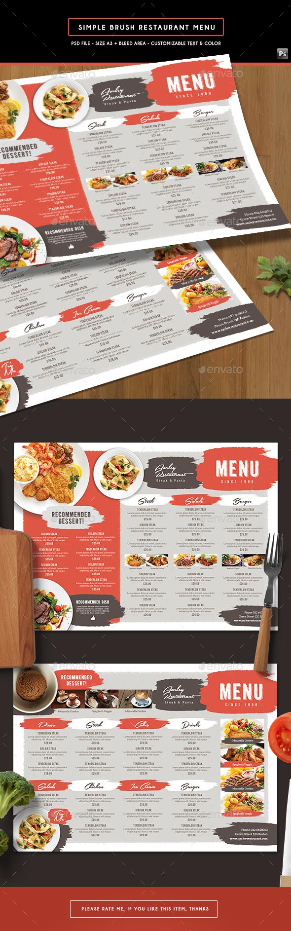Simple Brush Restaurant Menu Board - Food Menus Print Templates