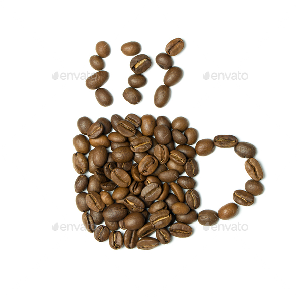Coffee cup icon from beans - Stock Photo - Images