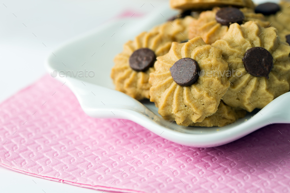 Coffee butter chocolate chip cookie - Stock Photo - Images