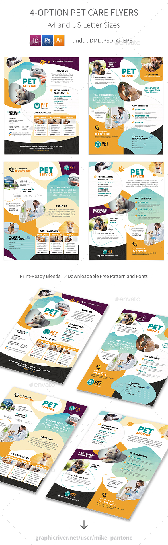 Pet Care Flyers 7 – 4 Options - Corporate Flyers