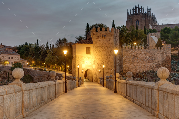 Dawn at the San Martin bridge in Toledo - Stock Photo - Images