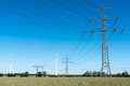 Windwheels and power transmission lines in Germany - PhotoDune Item for Sale