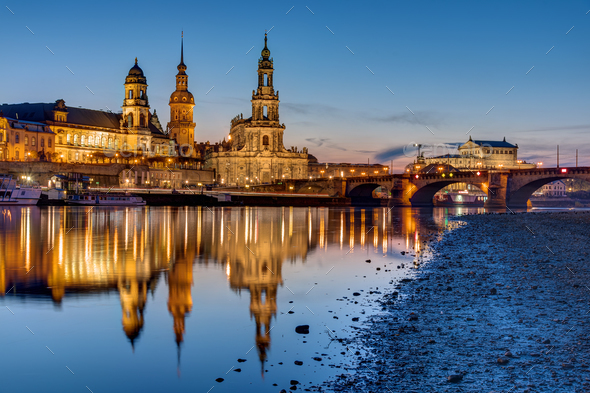 Sunset at the historic center of Dresden - Stock Photo - Images