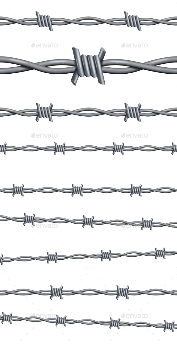 Realistic 3D Detailed Barbed Wire Line Set - Borders Decorative