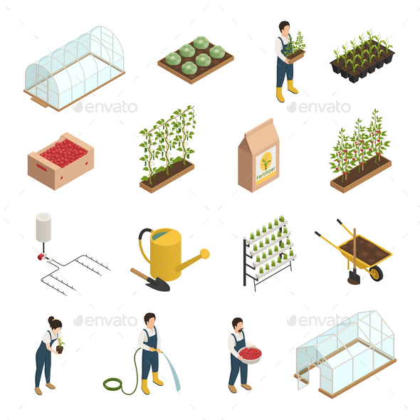 Greenhouse Elements Isometric Icons Set - Miscellaneous Vectors