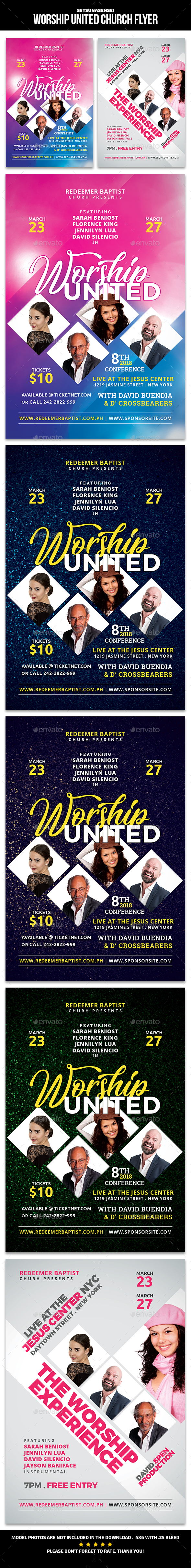 Worship United and the Worship Experience Church Flyer - Church Flyers