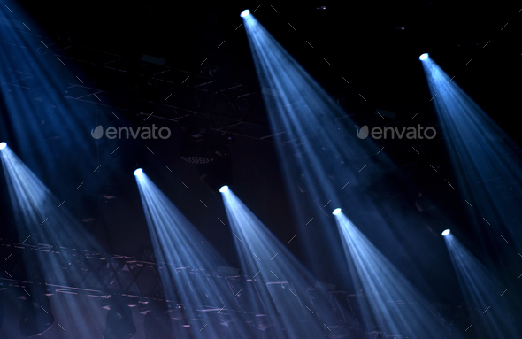 Blue stage spot lights - Stock Photo - Images