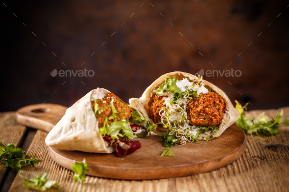 Falafel and fresh lettuce - Stock Photo - Images