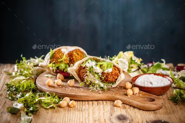 Falafel in pita bread - Stock Photo - Images