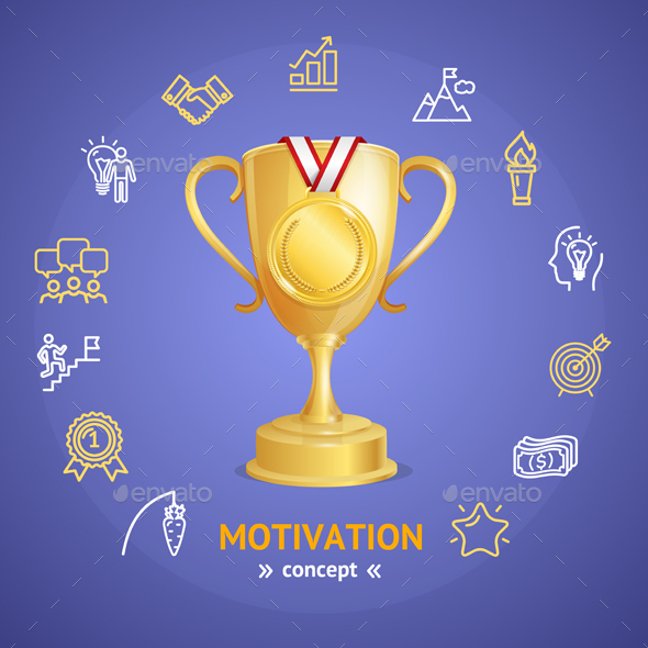 Motivation and Productivity Concept with Golden Cup. Vector - Conceptual Vectors
