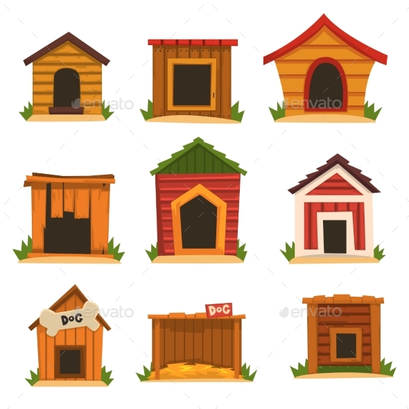 Wooden Dog House Set, Dogs Kennel Cartoon Vector - Animals Characters