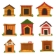 Wooden Dog House Set, Dogs Kennel Cartoon Vector - GraphicRiver Item for Sale