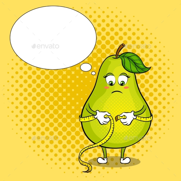 Pear Measuring Waist Pop Art Vector Illustration - Food Objects
