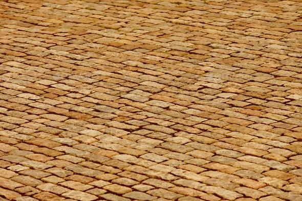 Antique warm tone paving stone. Copyspace. Horizontal  - Stock Photo - Images