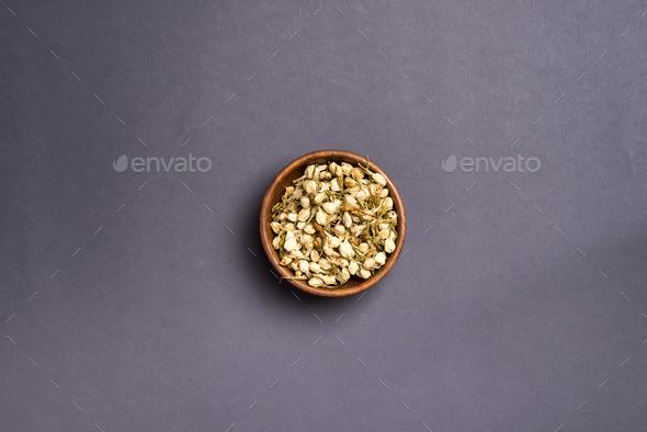 Dried mimosa petals: for tea, alternative medicine, pot-pourri. - Stock Photo - Images