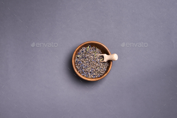 Dry lavender tea on plate, - Stock Photo - Images