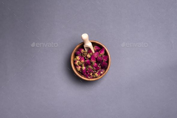 Dried rose petals: for tea, alternative medicine, pot-pourri. - Stock Photo - Images