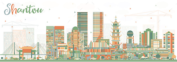 Shantou China Skyline with Color Buildings. - Buildings Objects