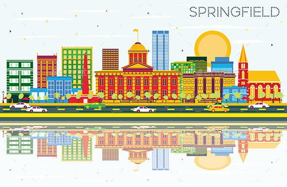 Springfield Skyline with Color Buildings, Blue Sky and Reflections - Buildings Objects