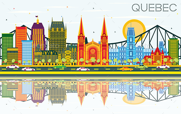 Quebec Canada Skyline with Color Buildings, Blue Sky and Reflections. - Buildings Objects