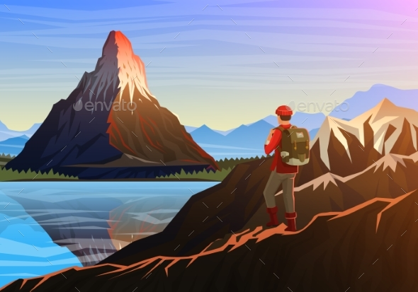 Mountain Matterhorn with Tourist in Morning - Landscapes Nature