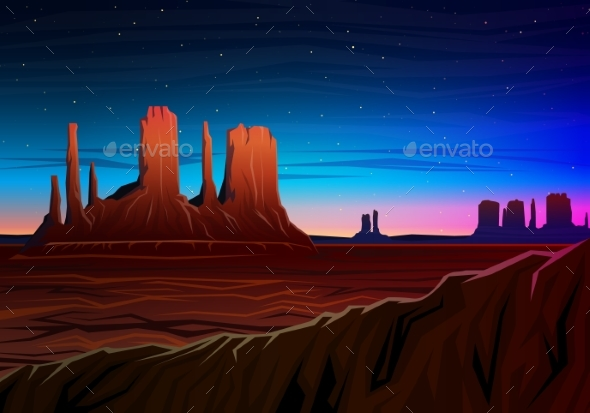Mountain and Monument Valley, Night Panoramic View - Landscapes Nature