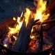 Bright Flame. A Bonfire on Rest in the Evening. Burning Firewood. Orange Fire - VideoHive Item for Sale