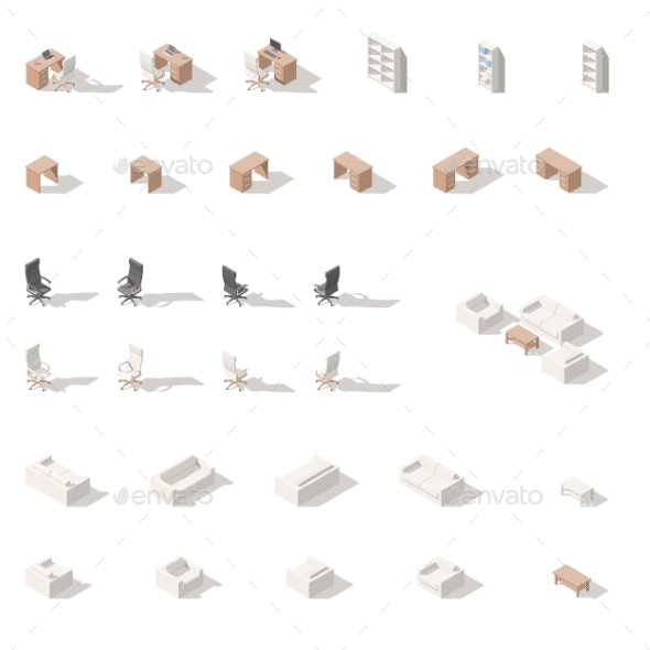 Cabinet or Workplace Low Poly Isometric Icon Set - Miscellaneous Conceptual