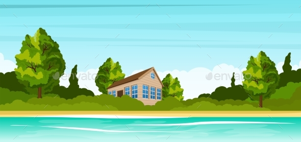 Small House on the River Bank. Rural Summer - Landscapes Nature